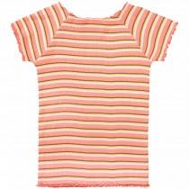 Cropped T-Shirt Streifen - Neon Peach