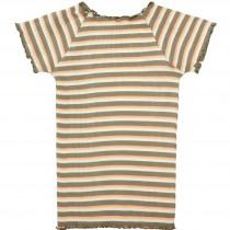 Cropped T-Shirt Streifen - Khaki