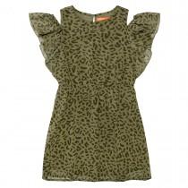 Kleid im Leo-Muster - Khaki