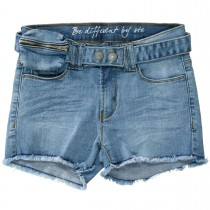 Jeans-Shorts mit Bauchtasche - Light Blue Denim