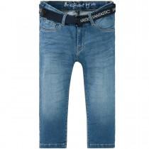 Capri-Jeans mit Gürtel - Mid Blue Denim