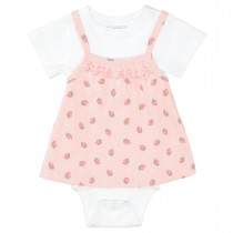 ORGANIC COTTON Body mit Tunika ERDBEERE - Soft Blush