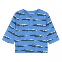 ORGANIC COTTON Shirt KROKODIL - Soft Blue Denim Alloverprint