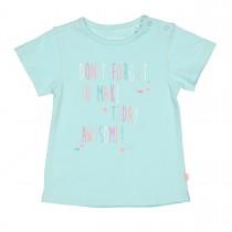 T-Shirt mit Wording-Print - Tuerkis