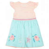 Kleid mit Applikation - Neon Papaya Streifen