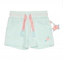 Shorts im Streifen-Design - Türkis