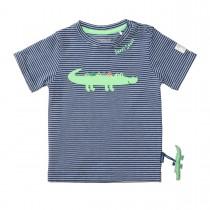 T-Shirt mit Krokodil-Applikation - Dark Tinte Streifen