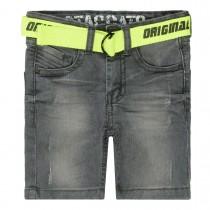Jeans-Bermudas mit Gürtel - Grey Denim