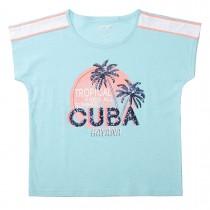 Boxy-T-Shirt CUBA - Light Sea
