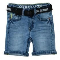 Jeans-Bermudas mit Gürtel - Mid Blue Denim
