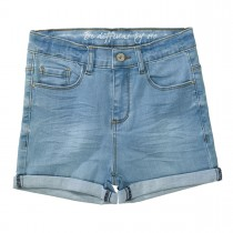 Jeans-Shorts High Waist - Light Blue Denim
