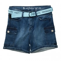 Cargo-Shorts mit Gürtel HIGH WAIST - Mid Blue Denim