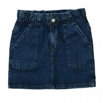 Jeansrock mit aufgesetzten Taschen - Mid Blue Denim