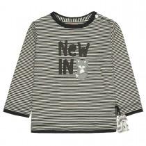 Streifenshirt  - Anthra mit Wording-Print