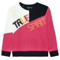 Sweatshirt TRUE mit Wording - Fuchsia