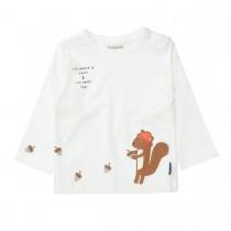 Langarmshirt  - Offwhite mit Eichhörnchen-Applikation