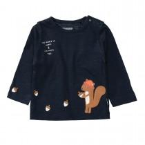 Langarmshirt  - Tinte mit Eichhörnchen-Applikation