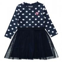 Kleid mit Punkten und Tüllrock - Deep Tinte Aop