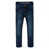 Skinny Jeans Slim Fit mit Crinkle-Optik - Dark Blue Denim