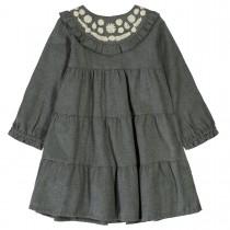 BASEFIELD Kleid mit Stickereien - Anthra Melange