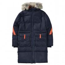 Langer Mantel mit Kapuze  - Deep Navy