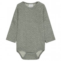 ORGANIC COTTON Langarmbody - Dusty Grey Melange Structure