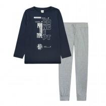 Pyjama mit Print - Navy Grey