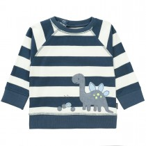 Sweatshirt mit Dino-Applikation - Washed Blue Streifen