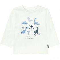 Langarmshirt mit Dino-Prints auf der Vorderseite - Offwhite