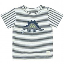 T-Shirt mit Dino-Applikation - Washed Blue Streifen