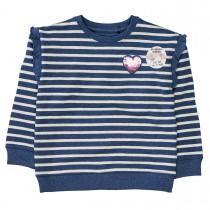 Sweatshirt mit Volants am Ärmeleinsatz - Blue Melange