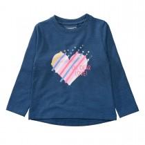 Sweatshirt mit Herz-Print auf der Vorderseite - Deep Blue Melange