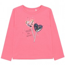 Langarmshirt mit zuckersüßen Applikation - Pink
