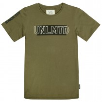 T-Shirt mit gummierten Wordings - Olive