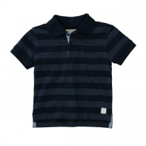BASEFIELD Polo-Shirt mit Blockstreifen-Allover - Navy