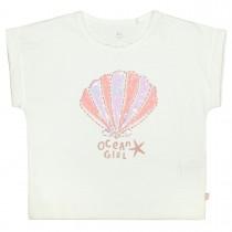BASEFIELD T-Shirt mit Muschel-Applikation - Offwhite