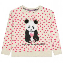 JETTE Sweatshirt PANDA  - Creme Melange mit Frottee-Applikation