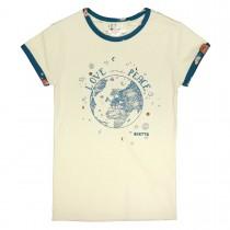 JETTE T-Shirt  - Softwhite mit Kontrast-Paspelierung