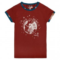 JETTE T-Shirt  - Chestnut Red mit Kontrast-Paspelierung