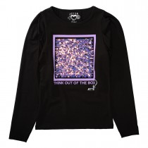 JETTE Langarmshirt mit Pailletten-Applikation - Black