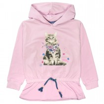 JETTE Hoodie mit Tunnelzug am Saum - Lilac Rosy