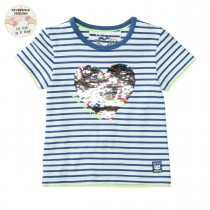 JETTE WENDEPAILLETTEN T-Shirt HERZ - Steel Blue Streifen