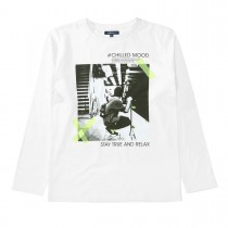 ATTENTION Langarmshirt mit Print - Clear White