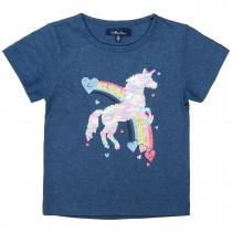 ATTENTION T-Shirt mit Einhorn aus Wendepailletten - Blue Melange