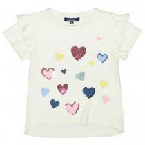 ATTENTION T-Shirt mit Pailletten-Herzen - Offwhite