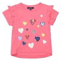 ATTENTION T-Shirt mit Pailletten-Herzen - Pink